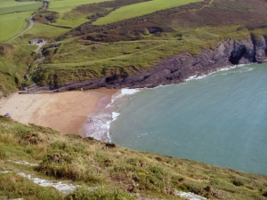 The bay at Mwnt from Foel y Mwnt