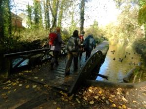 Crossing the original canal bridg