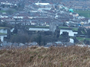 Overlooking Caerphilly Castle