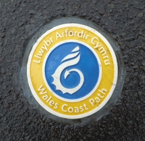 Wales Coast Path sign Knap promenade
