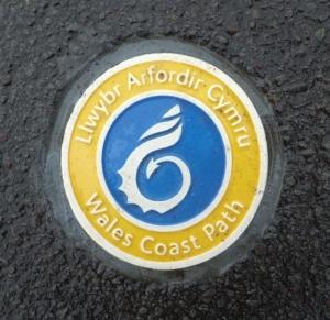 Wales Coast Path sign Knap promenade