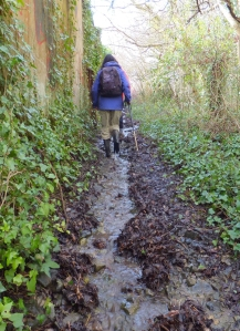 Sloshing through mud and water on the way to Llandough village