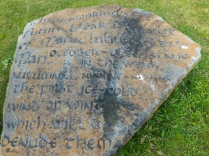 Inscribed rock sculptures Parc Penallta