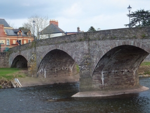 The old stone Usk Bridge