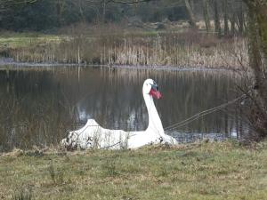 Giant swan boat at Warren Mill