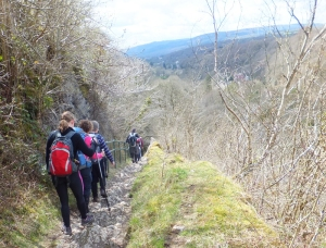 Pontneddfechan descending the rocky path beside Dinas Rock