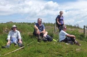 Mynydd Machen taking a break en route to the trig point