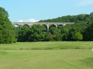 Porthkerry viaduct across putting green