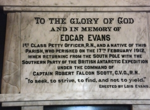 Edgar Evans memorial in church