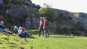 Chatting to cavers at lunch break