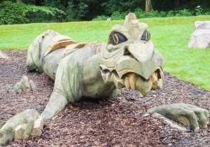 Dragon sculpture in Fforest-fawr