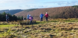 Crossing the lower slopes of Mynydd Maen