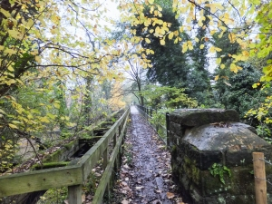Crossing the old railway bridge