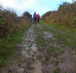 Muddy coast path approaching the southernmost tip