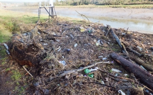 Debris on riverbank