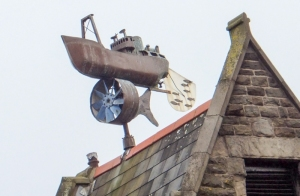 Cardiff Bay Trail weathervane on top of Woods Brassiere the old pilotage office