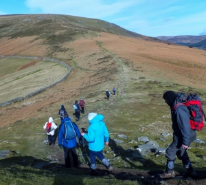 The ascent to Pen Cerrig-calch
