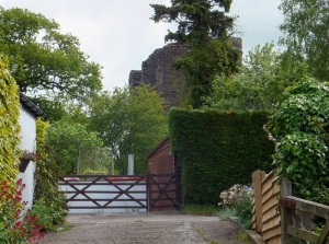 Ruined Grosmont Castle from village