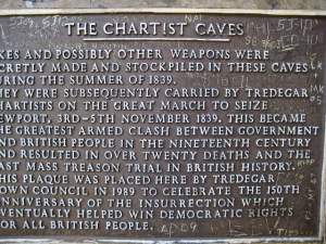 Information plaque at Chartist's Cave
