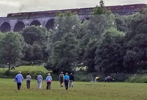 Train going over the Porthkerry Viaduct