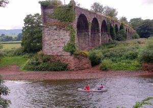Dismantled railway bridge over the Wye near Monmouth