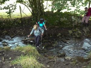 Crossing the stream at Castellau