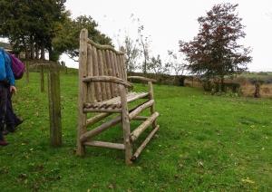 Big bench in garden