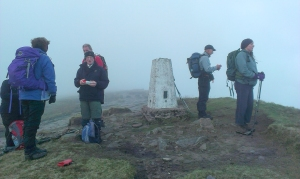 Trig Point on a misty Fan Brycheiniog
