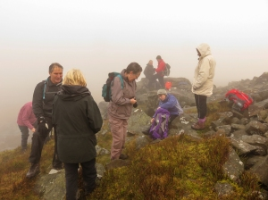 Group on Blorenge in the fog