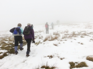 Climbing up Cwm Banw in mist and snow