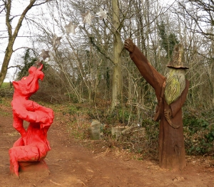 Sculpture trail dragon and wizard