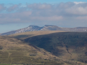 Still snow on Pen y Fan and Corn Du