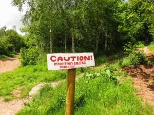 warning near Great Llwygy Farm