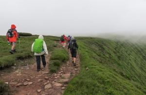 Through the mist above Cwm Oergwm