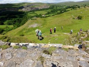 Descending through remains of Morlais Castle