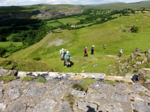 Descending through remains of Morlais Castle