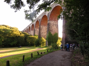 Passing under the Porthkerry Viaduct