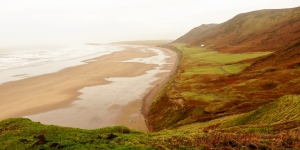 Descending to Rhossili Bay