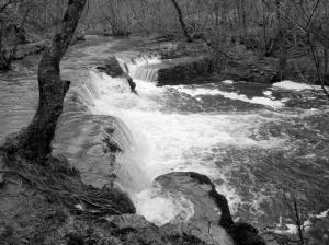 Fall by bridge at confluence of Afon Pyrddin and Nedd Fechan