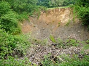 The landslide from flood damage