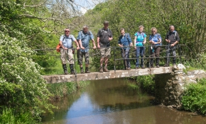 group on footbridge over the Bishopston stream