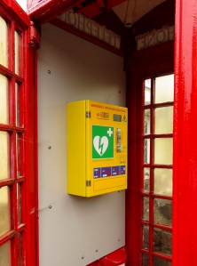 Defibrillator in old phone box