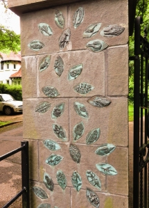 Leaf shapes on entrance to Bryngarw