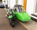 Motor cycle and sidecar West Bank
