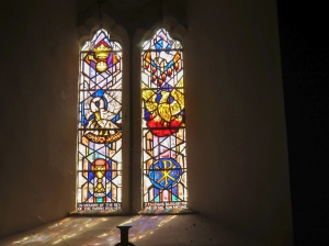 Stained glass inside St Cadoc's