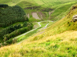 Overlooking the A4061 Bwlch Mountain Road