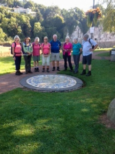 Group at Welsh Coast Path mosiac