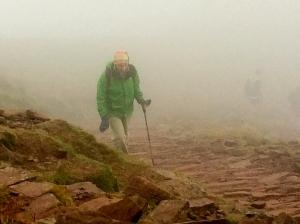foggy climb to pen y fan