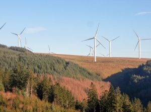 view up to pant y wal windfarm
