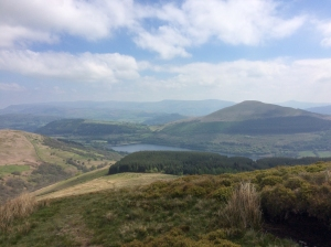 Climbing up Allt Lwyd overlooking Talybont rsv and Tor y Foel